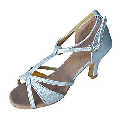SanSha Hot-Selling Brand New Latin Dance Shoes High Heel for Ladies/Girls/Women/Ballroom Tango Shoes 7cm-Silver,4.5