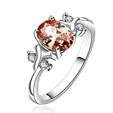 buy Fendina Womens Silver Plated Vintage Filigree Manmade Oval Cut Garnet Solitaire Promise Engagement Wedding Ring Bridal Eternity Anniversary Band Her Valentin'S Day Gift
