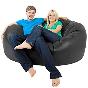 XXXL Bean Bag MONSTER Double - Faux Leather BLACK Giant Bean Bags - Beanbag Big Enough for 2!
