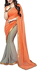 Angel Fashion Studio Women's Georgette Saree (Orange)