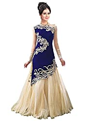 Mastani Kreation Women Georgette Dress material (H131-01_blue_blue_Free Size)