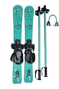 Kids Plastic Snow Skis & Poles With Free Ski Wedgie Clip - Age 2 - 4 (70cm)