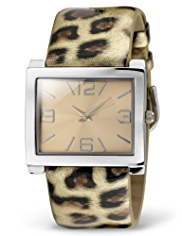 M&S Collection Rectangular Face Faux Leopard Skin Strap Watch