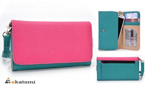 Hot Pink | Blue Green | Universal Women'S Wallet Wrist-Let Clutch For Apple Iphone 6 Phone Case. Bonus Ekatomi Screen Cleaner front-1023481