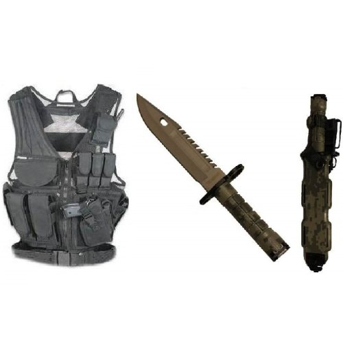 Ultimate Arms Gear Stealth Black Lightweight Edition Tactical Scenario Military-Hunting Assault Vest W/ Right Handed Quick Draw Pistol Holster + Acu Army Digital Camo Camouflage Stainless Steel Special Forces Series M9 M-9 Military Sawback Survival Blade