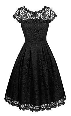 Angerella Women's Retro Floral Lace Cap Sleeve Vintage Swing Bridesmaid Dress