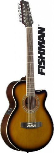 Stagg Sa40Mjcfi/12-Bs Mini Jumbo Electro-Acoustic Cutaway Concert Guitar With Fishman Preamp