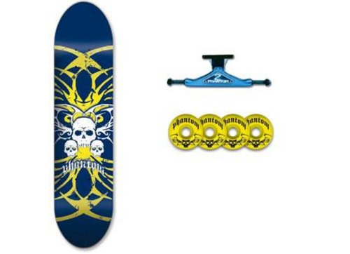 Phantom Truck Co. Complete Skateboard (Skull Yellow,7.625-Inch) (Phantom Skateboard Trucks compare prices)