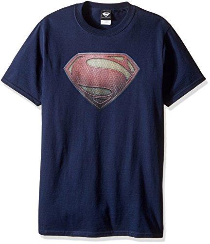 DC Comics Men's Superman Man of Steel Shield T-Shirt, Navy, Medium (Superman T Shirt Emblem compare prices)