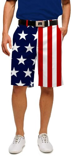 Loudmouth Golf Mens Shorts: Stars & Stripes - Size 36 by Loudmouth Golf