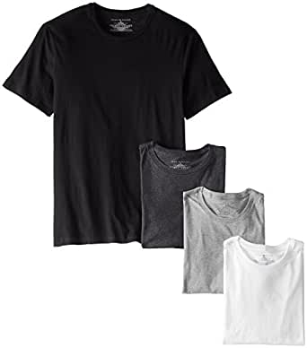 Tommy Hilfiger Men's Crew Neck T-Shirt, Carbon Heather, Large (Pack of 4)