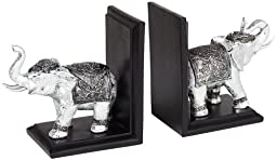 Eletro Silver and Black Elephant Bookends Set