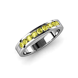 Yellow Diamond 9 Stone Wedding Band 0.36 ct tw in 14K White Gold.size 5.5