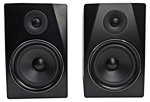 "Package: Pair of Rockville APM8B 8"" 2-Way 500 Watt Powered USB Studio Monitor Speakers in Black + Rockville RCDSTR10B 10' Nickel-Plated 1/4"" TRS to Dual 1/4"" TS Cable"