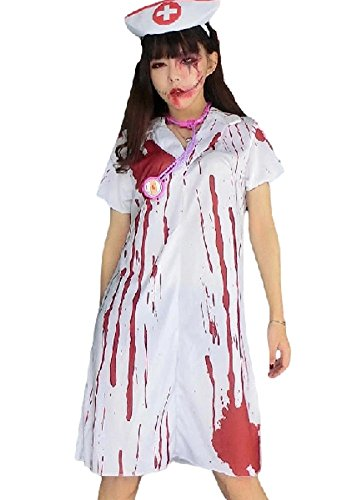 SPJ: Adult Fear Nurse Halloween Costume Cosplay Zombie Scary Blood Ghost