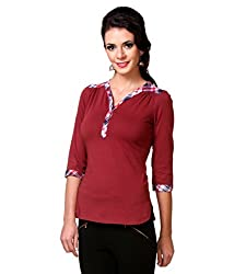 Zastraa Women's Top (ZSTRTOPS0055_Maroon_X-Large)