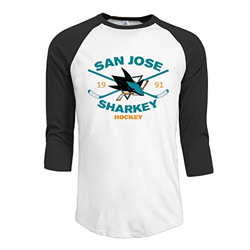 [Hotboy19 Men San Jose Sport Ice Hockey Team Raglan 3/4 Sleeve T-Shirt Black Size XL] (Hockey Stanley Cup Costume)