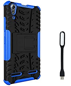 Ceres Hybrid Shock Proof Back Cover Case with Kickstand for Lenovo A6000 Plus With Mini USB LED Light Lamp (Blue)