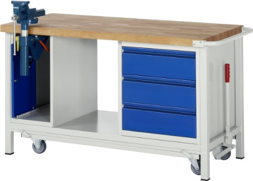 Werkbank-mit-absenkbarem-Fahrgestell-1500-x-700x-880-mm