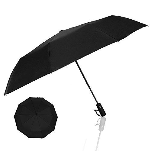 Parapluie, POOPHUNS Parapluie Pliant, Parapluie Automatique, 10 Baleines, Fibre De Verre Et Tissu 210T, Ouverture et Fermeture Automatiques, Poignée Ultra Confortable-Robuste, Anti Vent, Imperméable (Noir)
