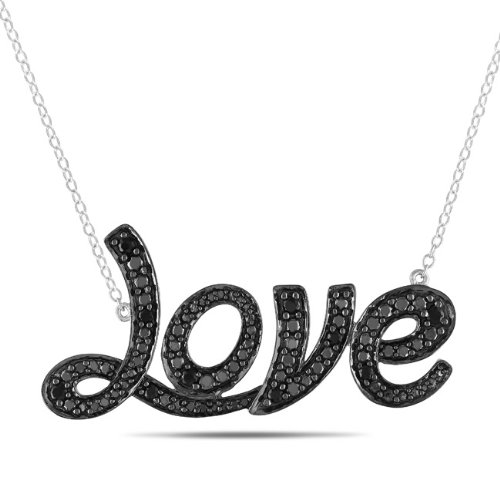 Sterling Silver 1/4 CT TGW Black Spinel Necklace With Chain