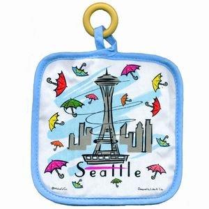 Seattle Hot Pad Umbrellas Space Needle Square
