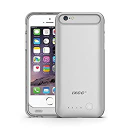 iXCC 3100mah External Battery Backup Charging Case for Apple iPhone 6, 6s with Micro USB Input Mode - MFI Certified - White & Silver