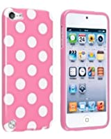 [Casemaster]Coque en gel silicone pour Apple iPod Touch 5 Rose/Blanc Polka Dott