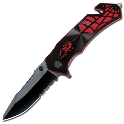 1 X Assisted Black & Red Spider Rescue Knife