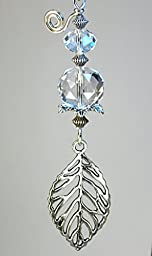 Openwork Silvery Leaf with Crystal Clear Faceted Glass Ceiling Fan Pull / Light Pull Chain