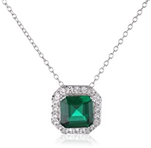 """Sterling Silver Created Emerald and Created White Sapphire Pendant Necklace, 18"""""""