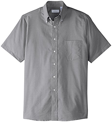 Van Heusen Men's Short Sleeve Oxford Dress Shirt, Greystone, X-Large