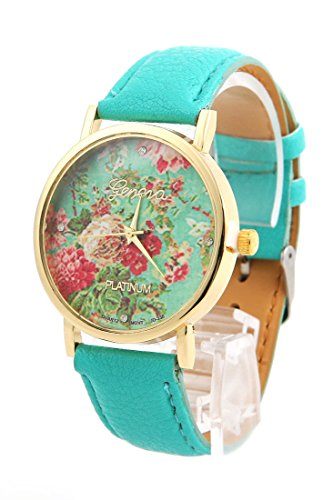 Shot-In New Fashion Leather Geneva Watch Wristwatches Women Girl Dress Flower Quartz (Mint Green)