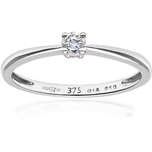 Ariel 9ct White Gold Engagement Ring, IJ/I Diamond, Round Brilliant, 0.10ct