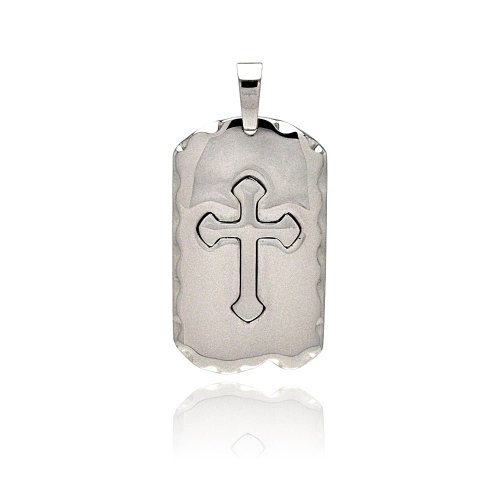 **Lead Free** Stainless Steel 30.5Mm(W)X51.5Mm(H) High Polish Medieval Cross Design Fashion Charm Pendant