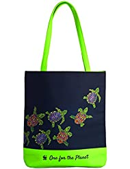 WWF-India Olive Ridley Turtle Tote Bag - Blue & Green | Cotton Canvas | Snap Closure