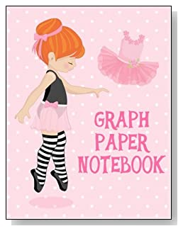 Graph Paper Notebook For Girls - A cute little redheaded ballerina against a mostly pink background graces the cover of this graph paper notebook for younger girls.