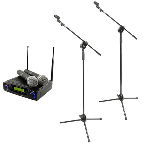 Pyle Mic And Stand Package - Pdwm3300 Wireless Professional Uhf Dual Channel Microphone System With 2 Microphones - 2X Pmks3 Pair Of Tripod Microphone Stand W/ Extending Boom