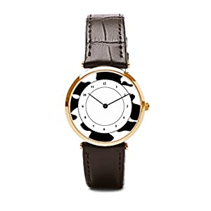 Aromar Mens Watches Leather Band Holstein Cow Pattern Leather Band Watch Friesian