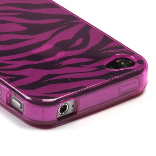 Asmyna IPHONE4AVCASKCA052 Slim and Durable Protective Cover for iPhone 4   1 Pack   Retail Packaging   Hot Pink/Transparent in a Zebra Pattern