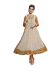 Aarti Saree Trendy Fashionable Orange And Beige Straight Suit With Heavy Embroidery Work