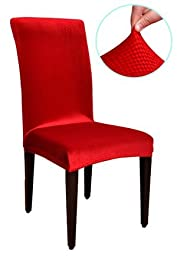 TIKAMI Dining Room Decoration Korea Spandex Fabric Chair Covers (4, Red)