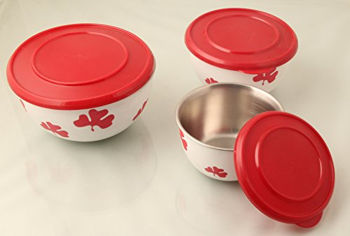 Mayur Exports Stainless Steel Printed Plastic Coated Bowl Set Of -3