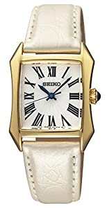 Seiko Women's SXGP24 White Dial Cabochon Leather Watch