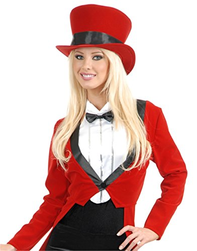 Women's Circus Magician Showgirl Red Top Hat With Black Ribbon Costume Accessory