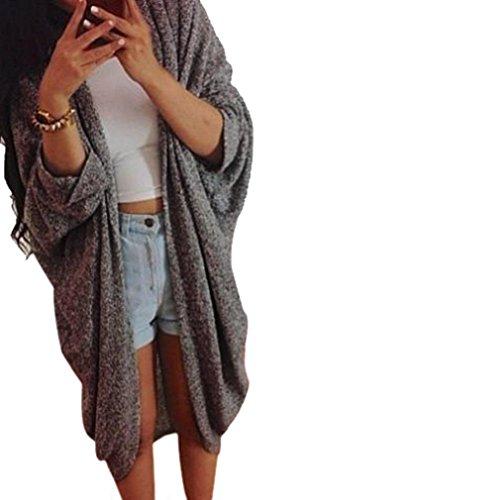Sunward Fashion New Womens Casual Oversize Knit 3/4 Sleeve Sweater Cardigan Coat (XXL, Dark Gray)