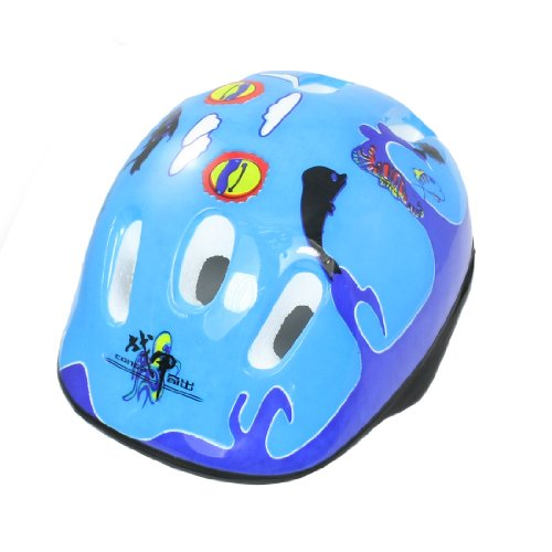Como Marine Fish Pattern Blue Cycling Skating Sports Safety Helmet for Children