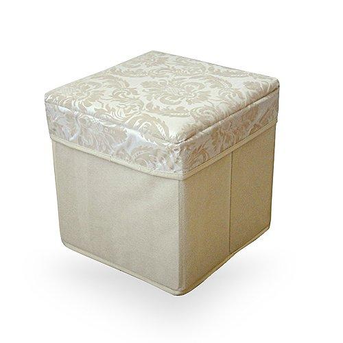 Damask Square Folding Storage Stool - Cream and Gold