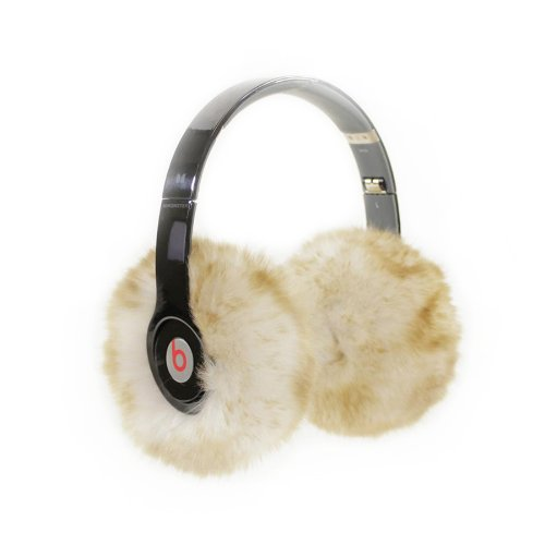 Earmuffies - Premium Faux Fur Earmuff Covers For Headphones - Large White Tan (Fits Beats Studio/Executive And Other Popular Headphones)
