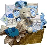 Eli or Ellie The Elephant Baby Gift Basket - Blue Boys or Pink Girls
